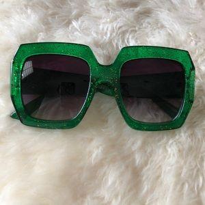 Ban. Do Green Sparkle Square Over Size Sunglasses